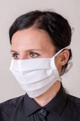 Bavlněná úpletová rouška na ústa a nos s kapsou - bílá
