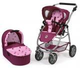 Bayer Chic Kočárek pro panenky EMOTION 2V1 růžovo-vínová hvězdička
