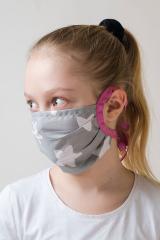 Dětská bavlněná úpletová rouška na ústa a nos - šedá-růžová