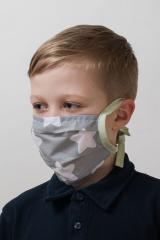 Dětská bavlněná úpletová rouška na ústa a nos - šedá-zelená