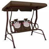 Dětská houpací lavice 115x75x110 cm Dekorhome Hnědá