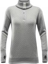 Devold Slogen Woman Zip Neck Grey Melange/Offwhite S