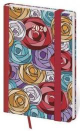 Diář 2020 týdenní kapesní Vario Roses s gumičkou