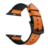 Eternico Apple Watch 42mm / 44mm Leather and Silicone Band oranžový