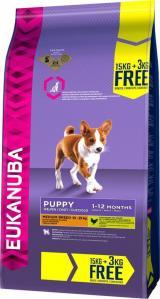 Eukanuba Puppy & Junior Medium Breed 15 kg   3 kg Zdarma