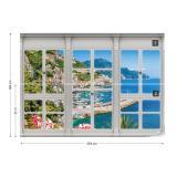 Fototapeta - 3D Door View Italian Coast Papírová tapeta  - 254x184 cm