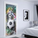 Fototapeta na dveře - 3D Footballs Puzzle Tunnel Multicoloured1   91x211 cm