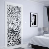 Fototapeta na dveře - Cheatah Design Black And White1   91x211 cm