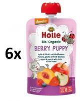 Holle Bio Berry Puppy Ovocné Pyré Jablko, Broskev A Lesní Plody - 6 X 100g