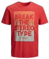 Jack&Jones Pánské triko Zap Tee Ss Crew Neck Fiery Red Slim S