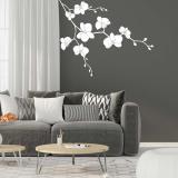 Květinová dekorace II. -samolepka na zeď Bílá 50 x 40 cm