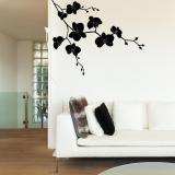 Květinová dekorace II. -samolepka na zeď Černá 100 x 80 cm