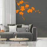 Květinová dekorace II. -samolepka na zeď Oranžová 75 x 60 cm