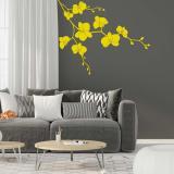 Květinová dekorace II. -samolepka na zeď Žlutá 50 x 40 cm