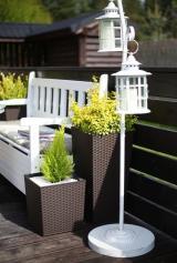 Lamela květináč JUKA RATAN 190 x 190 tmavě šedá