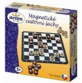 Magnetické cestovní šachy dřevo společenská hra v krabici 20x20x4cm