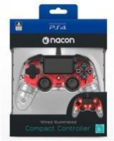 Nacon Wired Compact Controller - ovladač pro PlayStation 4 - průhledný červený, ps4hwnaconwicccred