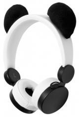 NEDIS sluchátka pro děti/ drátová/ na uši/ odpojitelná magnetická ouška/ 3,5 mm jack/ 1,2 m kulatý kabel/ Panda/ bílá, HPWD4000WT