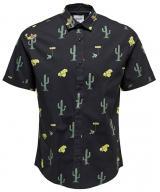 ONLY&SONS Pánská košile Sane Ss Aop Poplin Shirt Black L