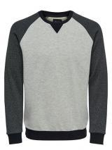 ONLY&SONS Pánský svetr Raglan Structure Sweat Medium Grey S