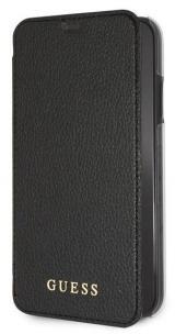 Pouzdro na mobil flipové Guess Leather Book Case Iridescent pro Apple iPhone XR černé