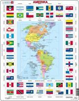 Puzzle Mapa Ameriky   vlajky 70 dílků