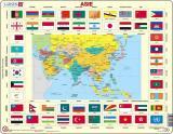 Puzzle Mapa ASIE   vlajky 70 dílků