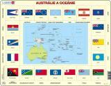Puzzle Mapa Austrálie a Oceánie   vlajky 35 dílků