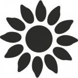 Raznice modrá - Slunečnice obrysová 22mm  37094