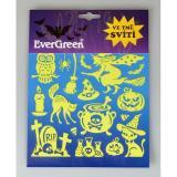 Samolepicí dekorace svítící ve tmě Halloween - čarodějnice, 24 x 18,2 cm