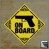 Samolepka na sklo GUN ON BOARD - žlutá
