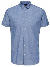 SELECTED HOMME Pánská košile Slimlinen Shirt Ss Classic B Medium blue Tops B 9 L