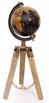 Sifcon Dekorace GLOBUS na trojnožce, 42x13 cm, dřevo