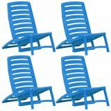 Skládací plážové židle 4 ks plast Dekorhome Modrá