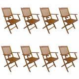 Skládací zahradní židle 8 ks akáciové dřevo Dekorhome