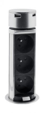 Solight USB výsuvný blok zásuvek, 3 zásuvky, prodlužovací přívod 1,5 m, kruhový tvar, stříbrný, PP125 - zánovní