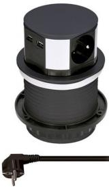Solight Výsuvný blok zásuvek, 3 z., 2× USB, kruhový tvar nízký, 1,5 m PP100USB-B, černý