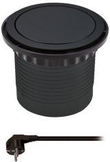 Solight Výsuvný blok zásuvek, 3 z., 2× USB, kruhový tvar nízký, 1,5 m PP100USB-B, černý - použité