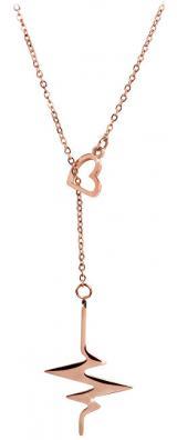 Troli Originální růžově pozlacený náhrdelník Srdeční tep 1966