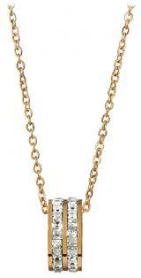 Troli Pozlacený ocelový náhrdelník s kruhovým třpytivým přívěskem