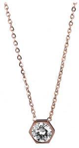 Troli Růžově pozlacený ocelový náhrdelník s hexagonem