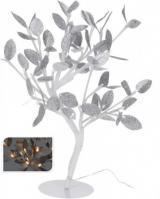Vánoční světelný strom stříbrné listy, 96LED, 100 cm, teplá bílá
