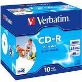 VERBATIM CD-R AZO 700MB, 52x, printable, jewel case 10 ks