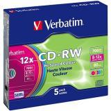 VERBATIM CD-RW SERL 700MB, 12x, colour, slim case 5 ks