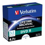 VERBATIM M-DISC DVD R 4X 4,7GB Inkjet Printable 5pck/BAL, 43821