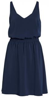 Vila Dámské šaty Laia S/L V-neck Dress Noos Navy Blazer 36