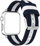 Wotchi NATO řemínek pro Apple Watch - Modrá/Bílá 38/40 mm