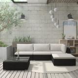 Zahradní sedací souprava s poduškami polyratan Dekorhome Černá / bílá