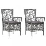 Zahradní židle 2 ks polyratan Dekorhome Šedá
