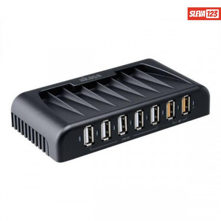 AKASA USB hub Connect 7 FC / AK-HB-12BKCM / 5x USB 2.0 / 2x nabíjecí USB port / napájecí adaptér / černý, AK-HB-12BKCM